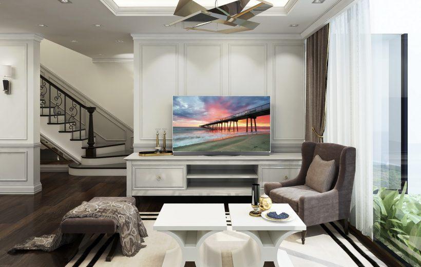 Phòng khách sang trọng với TV OLED siêu mỏng