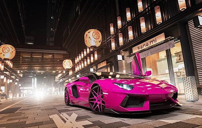 Siêu xe Lamborghini Aventador màu hồng tại Tokyo